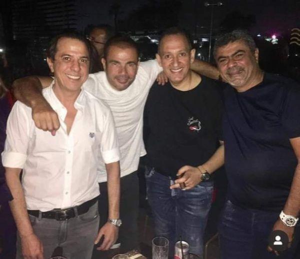 أحدث ظهور لعمرو دياب ودينا الشربيني في عيد ميلاد عمرو منسي