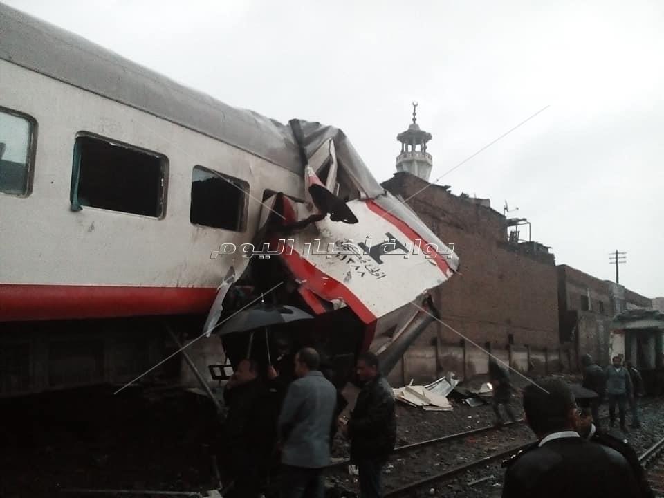 وزير النقل يتفقد حادث قطاري روض الفرج
