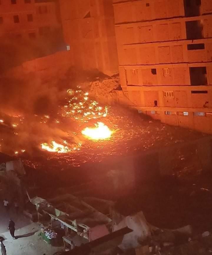 صور|حريق في منطقة التبة بشارع مصطفى النحاس
