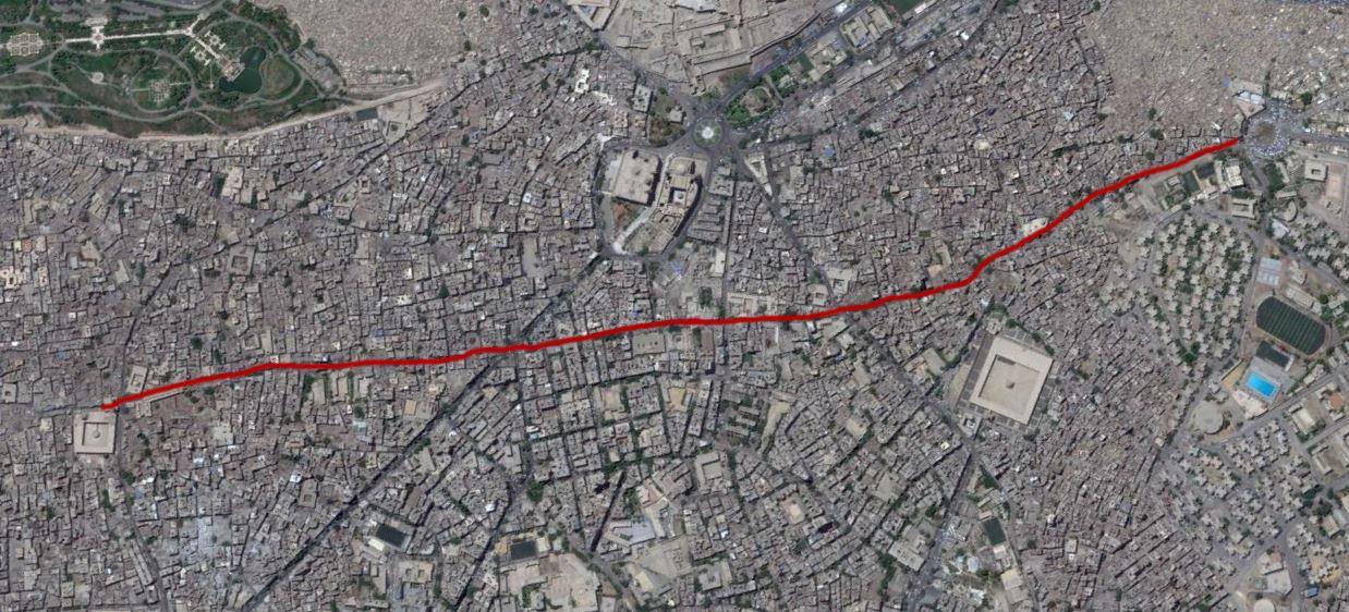 خريطة تظهر الطريق الذي يربط بين القاهرة والفسطاط