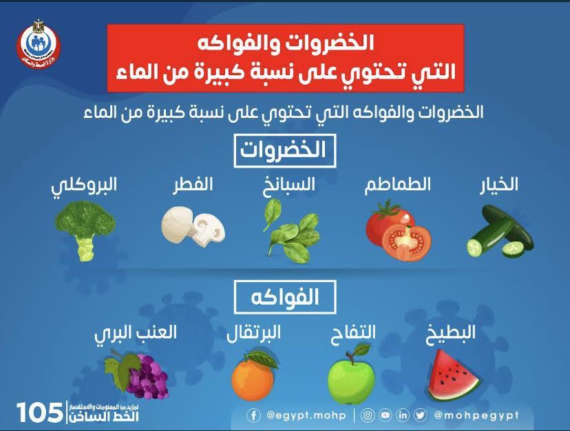 «الصحة» توضح الخضروات والفواكه الغنية بالماء والفيتامينات