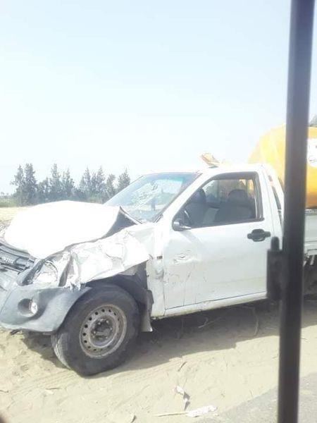 حادث تصادم بين سيارة ربع نقل مع دراجة بخارية توك توك
