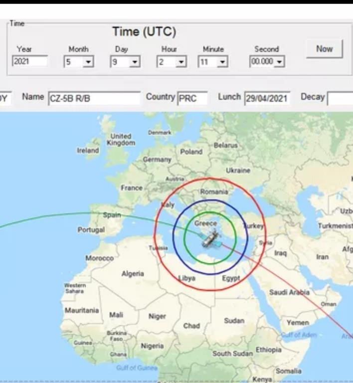 ننشر وقت دخول الصاروخ الصيني الي الغلاف الجوي