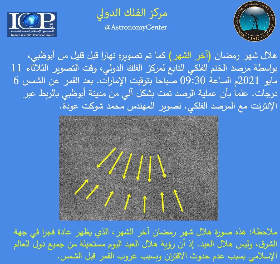 مركز الفلك الدولي يؤكد استحالة رؤية هلال العيد اليوم