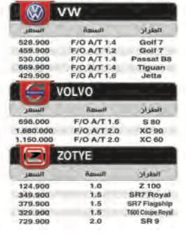 أسعار السيارات الجديدة