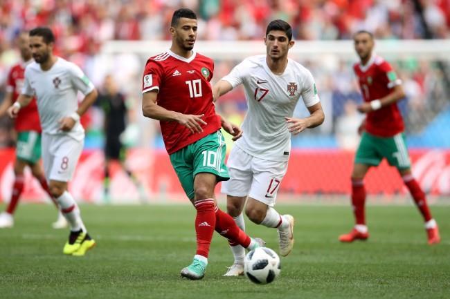 ملخص الشوط الأول من مباراة البرتغال والمغرب