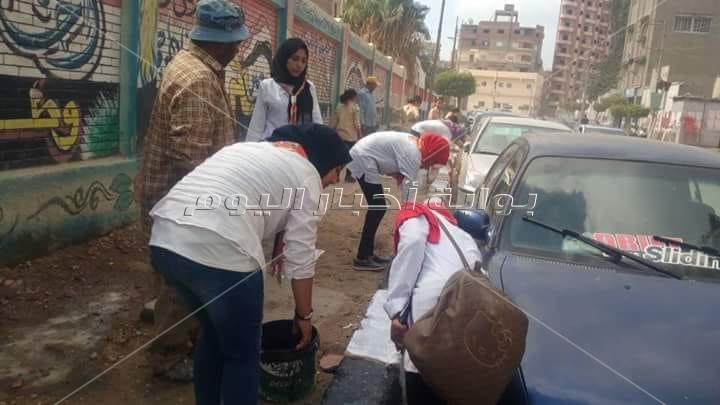 فتيات كشافة المحلة  يدشنون مبادرة لتنظيف المدارس