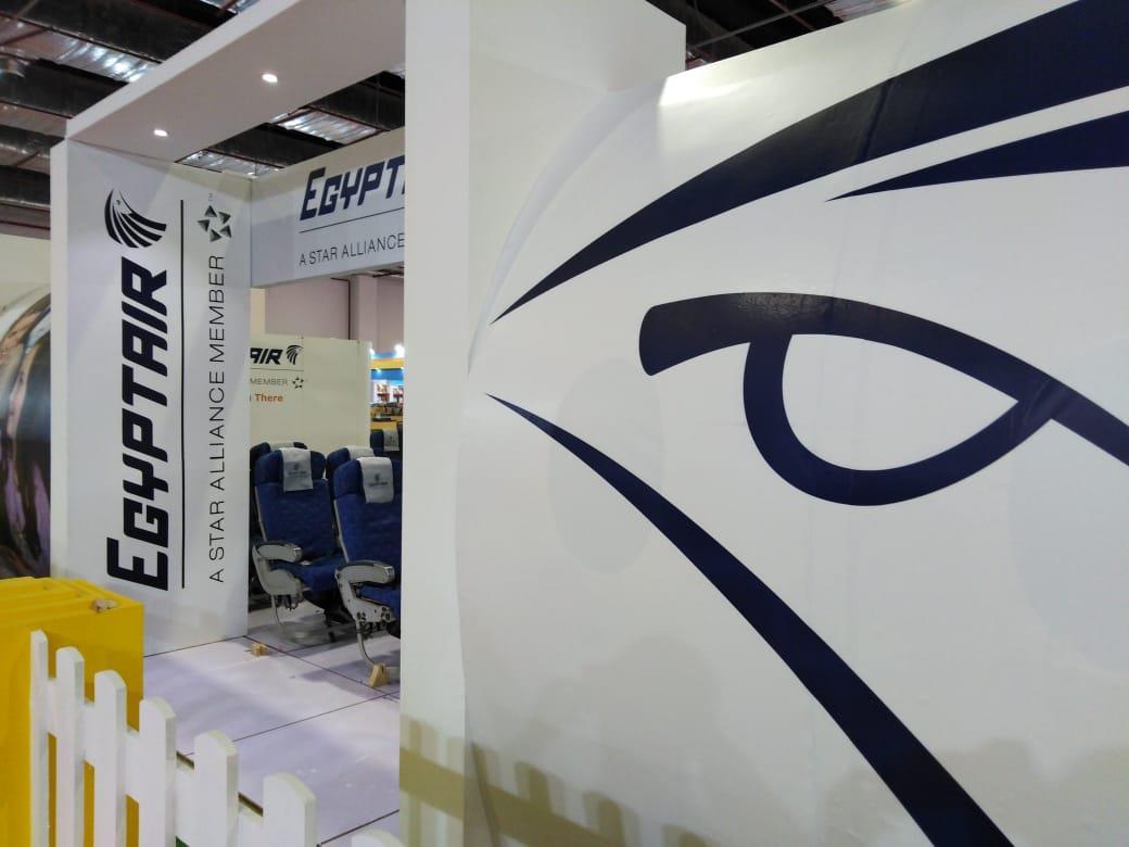 شاهد جناح ضخم لمصر للطيران على شكل مطار وطائرة بمعرض القاهرة الدولي للكتاب