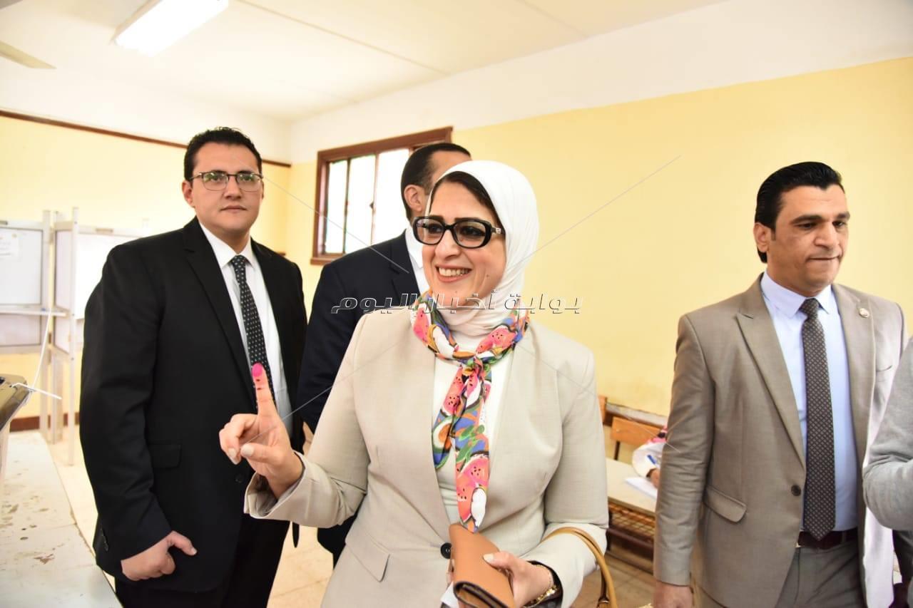 التعديلات الدستورية 2019  بالصور.. وزيرة الصحة تدلي بصوتها في الاستفتاء