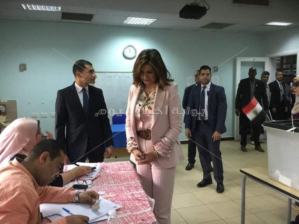وزيرة الهجرة تدلي بصوتها في الاستفتاء على التعديلات الدستورية