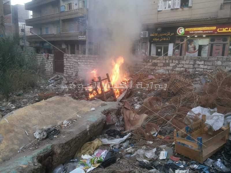 حريق نشب داخل قطعة ارض
