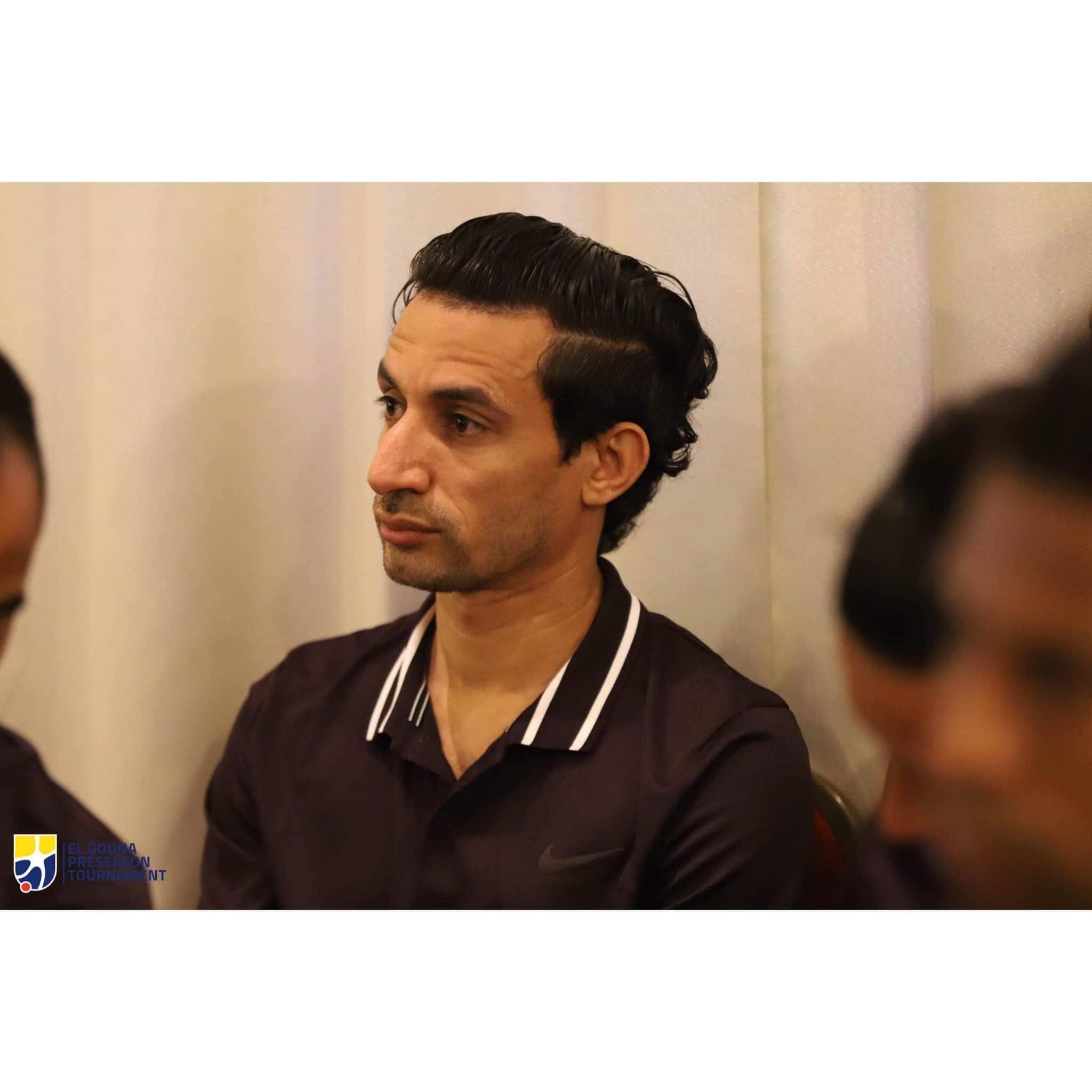 أيمن حفني ومحمد إبراهيم في الاجتماع الترحيبي ببطولة الجونة الرباعية