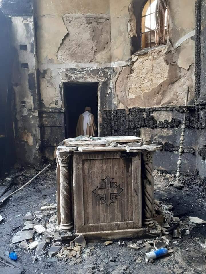 اثار حريق كنيسة مارجرجس حلوان