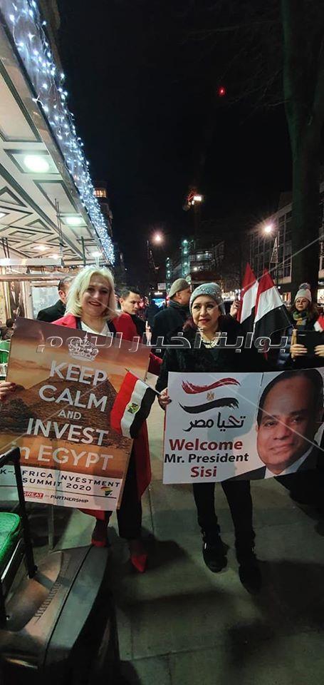 صور الجالية المصرية في لندن تستقبل الرئيس السيسي