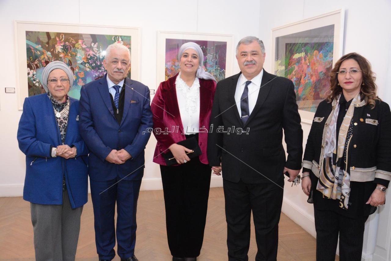 وزيرا التعليم والهجرة في افتتاح معرض هالة الشافعي
