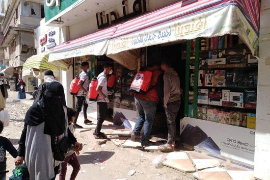 """""""حماة وطن"""" بالجيزة يواصل حملة تعقيم وتطهير المواقع الخدمية"""