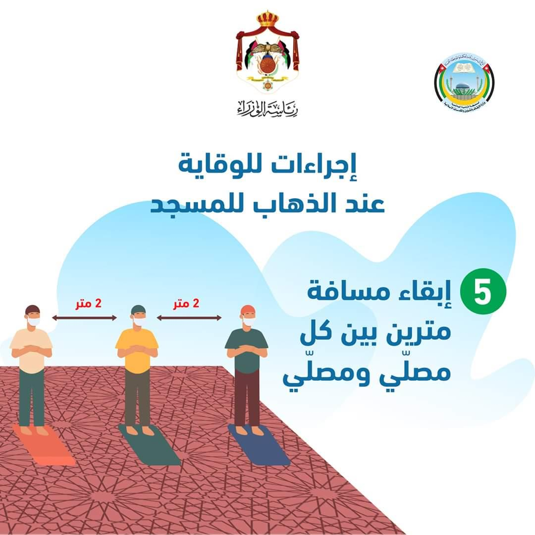 أوقاف الأردن تعمم إجراءات للوقاية عند الصلاة في المسجد