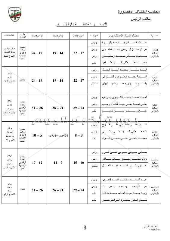ننشر الجمعية العمومية بتوزيع دوائر محكمة استئناف المنصورة للعام القضائي الجديد