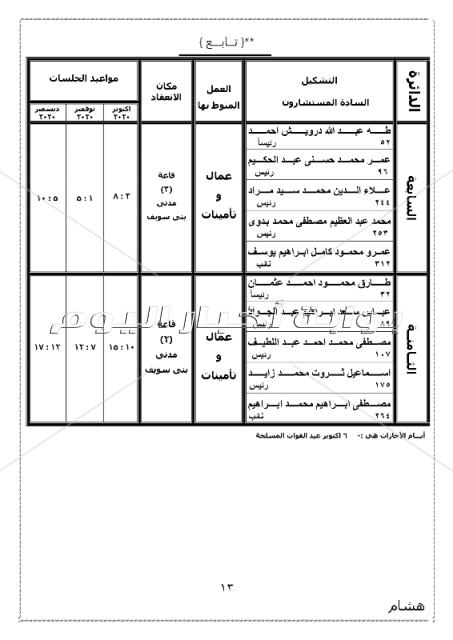 ننشر الجمعية العمومية بتوزيع دوائر محكمة استئناف بني سويف