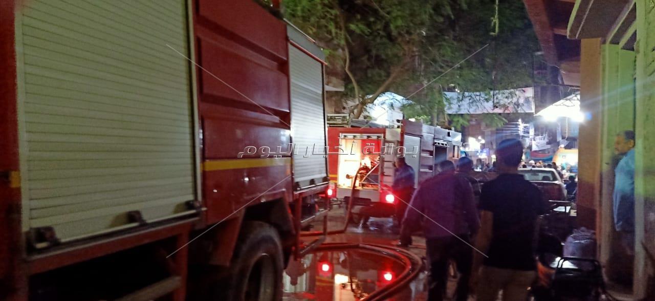 صور.. إصابة 3 في حريق بالمحلة