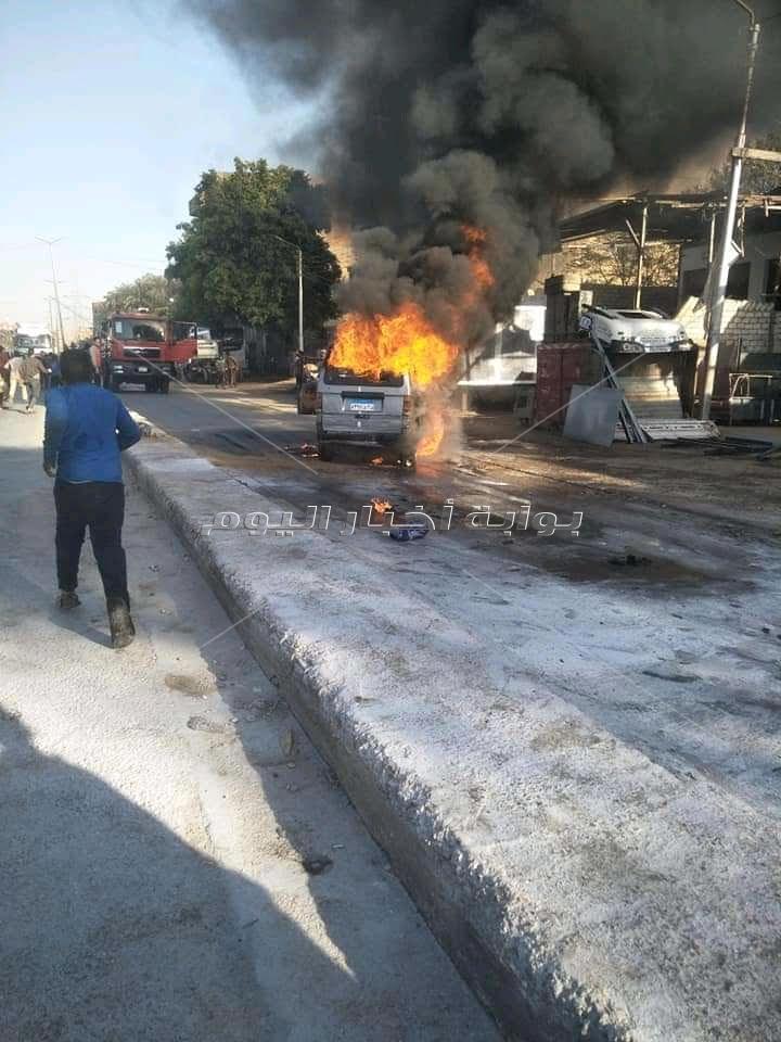 تفحم 3 سيارات في حريق داخل جراج بالمقطم