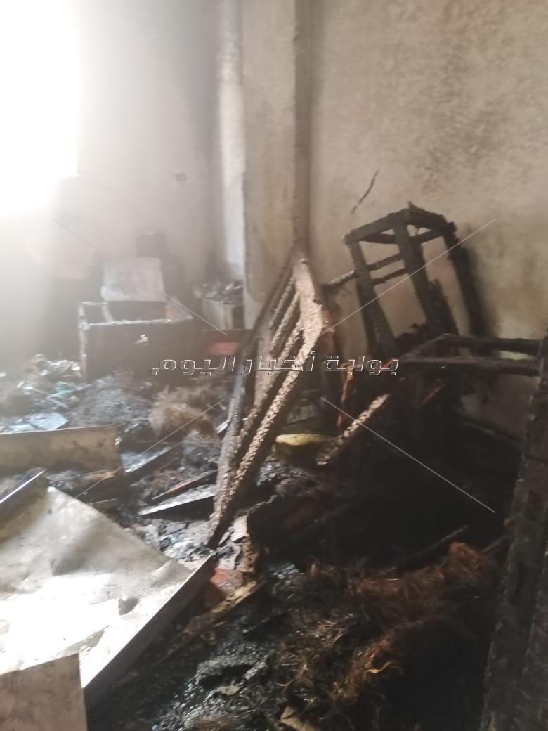 حريق يلتهم شقة بالكامل في قرية إمياي بالقليوبية