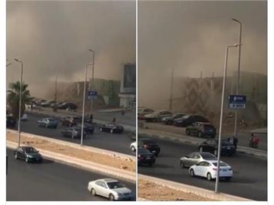 صورة| انهيار مبنى إداري بشارع التسعين بالقاهرة الجديدة
