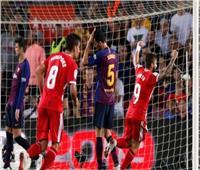 شاهد  جيرونا يفاجئ برشلونة بهدفين في الشوط الثاني