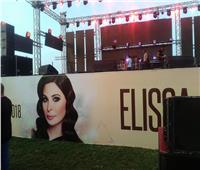 صور| تجهيزات حفل إليسا بمدينة جمصة
