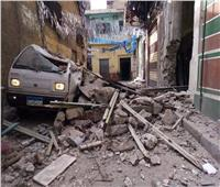 بالصور| انهيار جزء من عقار قديم بالإسكندرية