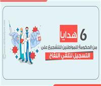 انفوجراف| 6 هدايا من الحكومة للمواطنين للتشجيع على التسجيل لتلقي اللقاح