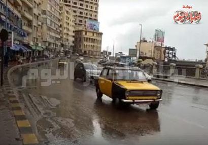 أمطار غزيرة على الإسكندرية