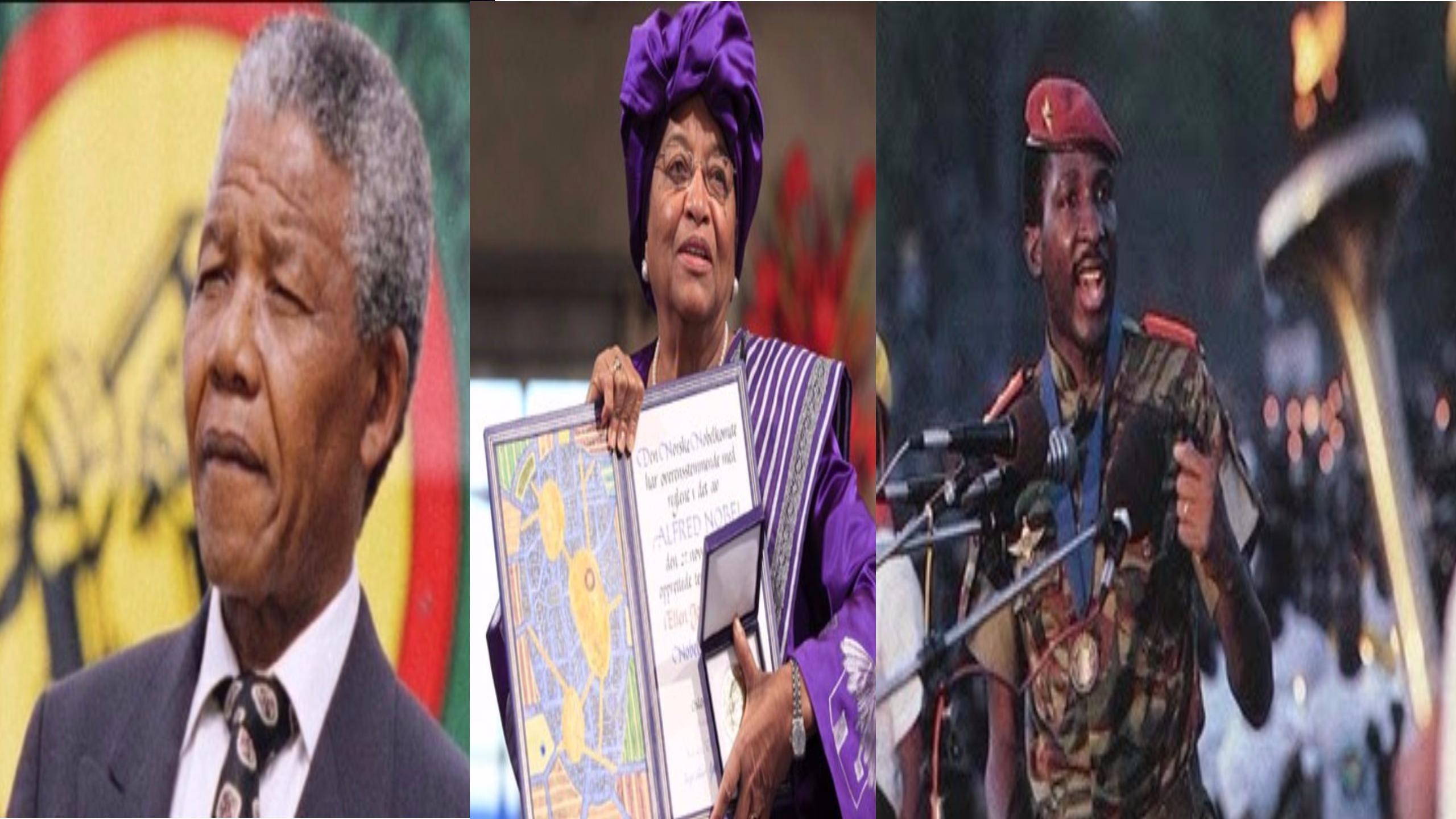 الزعيم الكونغولي باتريس لومومبا والرئيسة الليبرية ألين جونسون سيرليف ونيلسون مانديلا