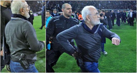 سافيديس يقتحم ملعب مباراة باوك وآيك بسلاحه