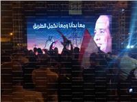 جانب من الاحتفال بفوز السيسي أمام جامعة القاهرة