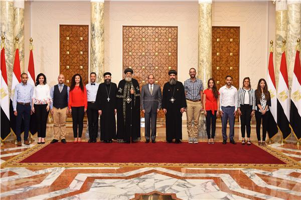 الرئيس يستقبل البابا تواضروس وشباب الملتقى الأول لـ«الكنيسة الأرثوذكسية»