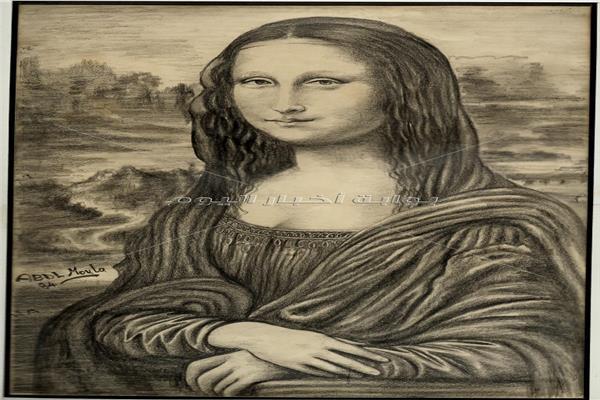 لوحة للموناليزا بالفحم على الكانسون