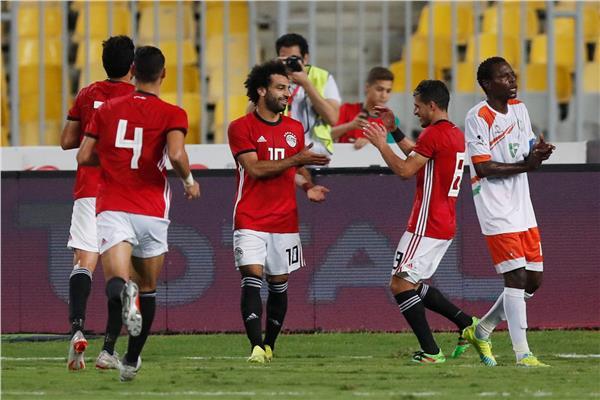 احتفالات لاعبي منتخب مصر أمام النيجر