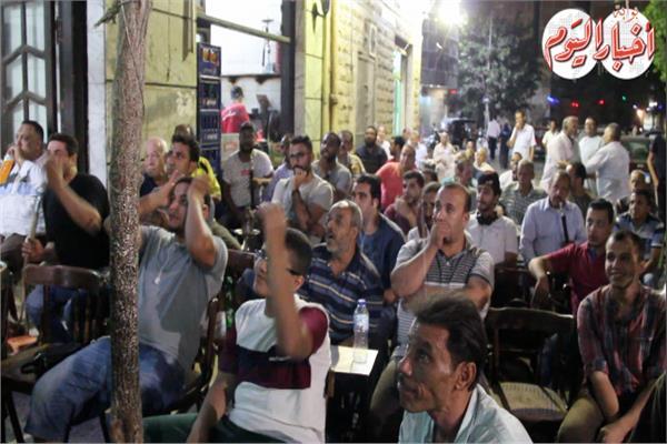 الجمهور المصري اثناء متابعة المباراة