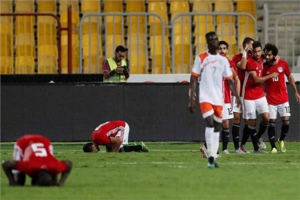 فرحة مصرية بأحد أهداف مباراة النيجر