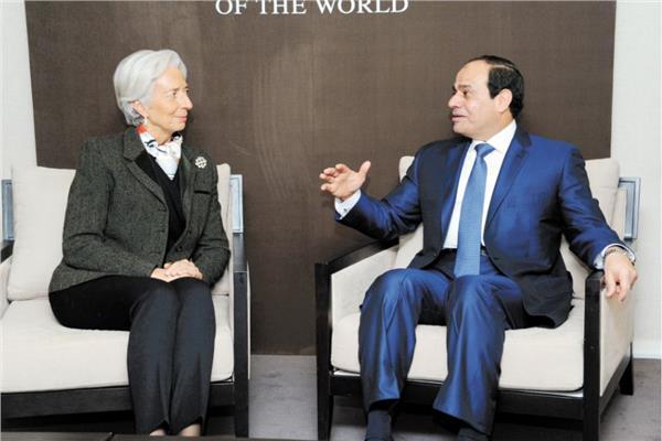 الرئيس السيسى فى لقاء سابق مع كريستين لاجارد مدير صندوق النقد الدولى