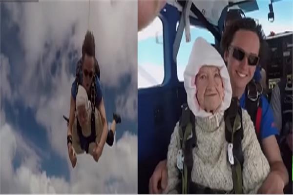 عمرها 102.. مسنّة تقفز بالمظلة من علو 4000 متر