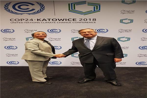 وزيرة البيئة تلتقي الأمين العام للأمم المتحدة مجددا في بولندا وتؤكد حرص مصر على تنفيذ اتفاق باريس