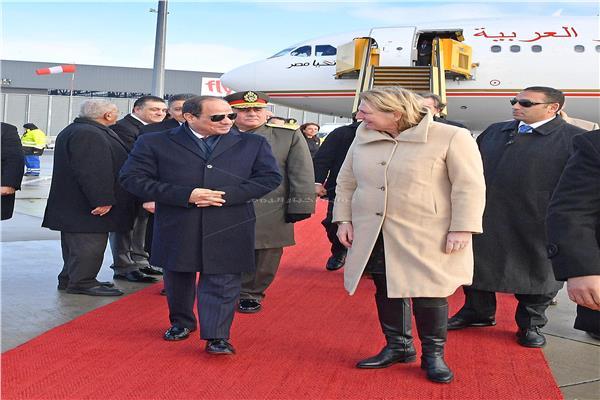 جانب من استقبال الرئيس عبد الفتاح السيسي في فيينا