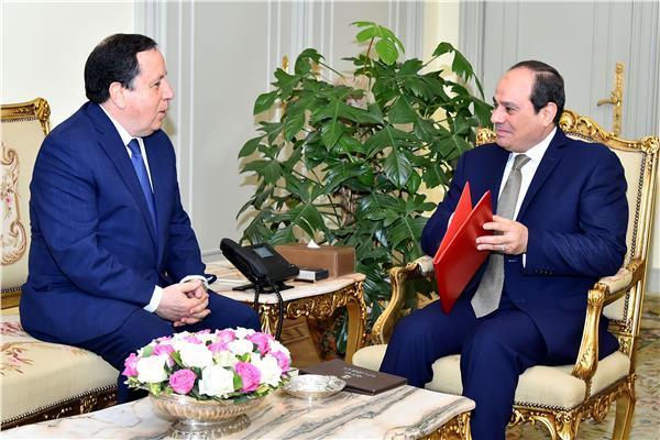 الرئيس عبد الفتاح السيسي  و  وزير خارجية تونس خميس الجهيناوي