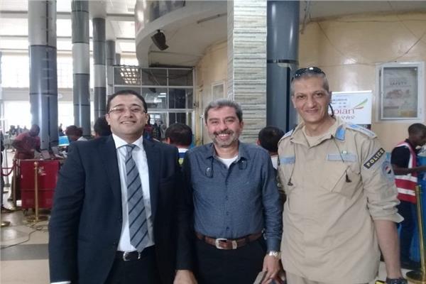 المستشار محمد الكلية وممثل السفارة واللواء أشرف السرجاني