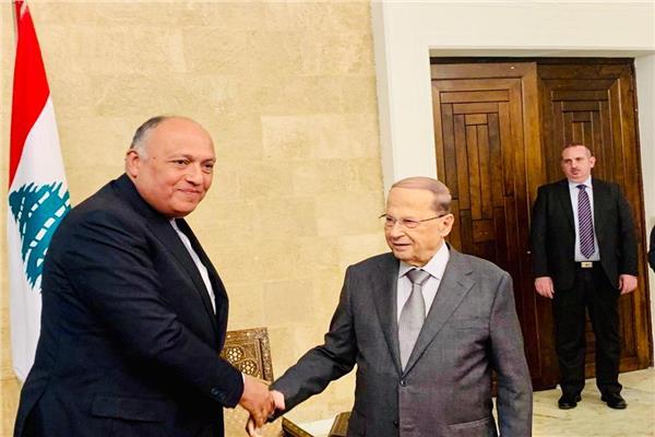 الرئيس ميشال عون وسامح شكري وزير الخارجية