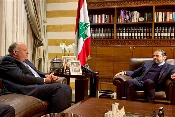 سامح شكري وزير الخارجية مع سعد الحريري رئيس مجلس الوزراء اللبناني