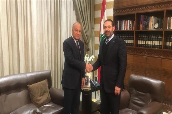 أحمد أبو الغيط الأمين العام للجامعة العربية و سعد الحريرى