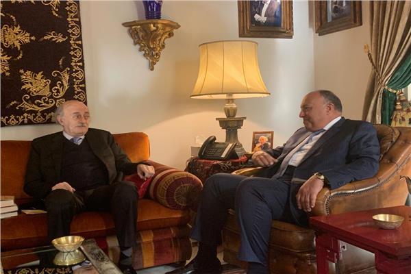 الوزير سامح شكري يلتقي وليد جنبلاط رئيس الحزب التقدمي الاشتراكي اللبناني